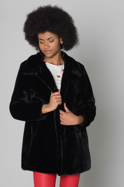 Manteau en fourrure synthétique noir Oakwood
