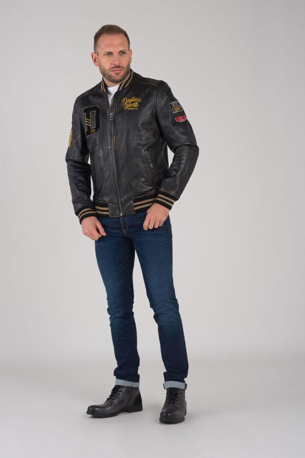 Blouson Homme Daytona BOMBER BADGES COW BUCCO BLACK