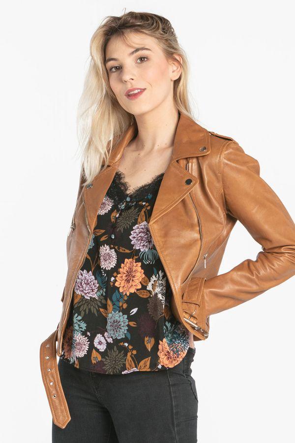 Blouson Femme Rose Garden POPPY LAMB SANDY COGNAC