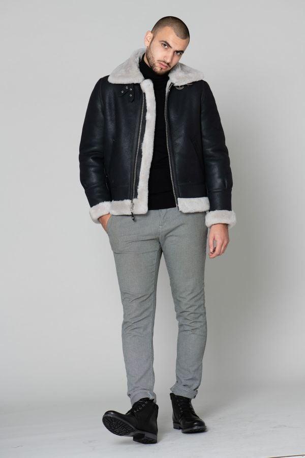 Blouson Homme Schott LC1259 BLACK/OFF WHITE