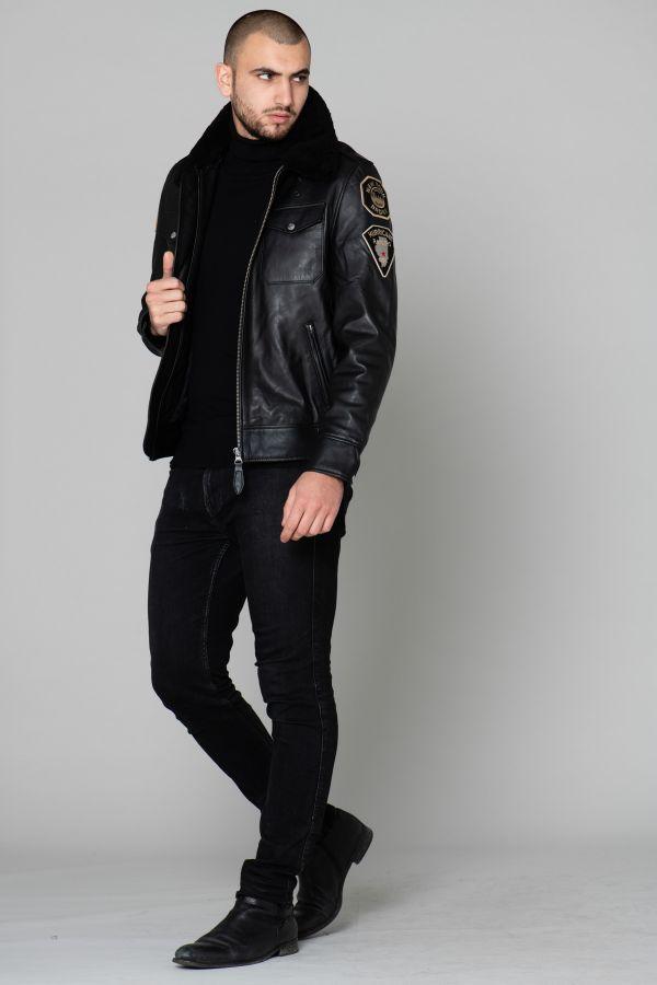 Blouson Homme Schott LCPOLICE BLACK