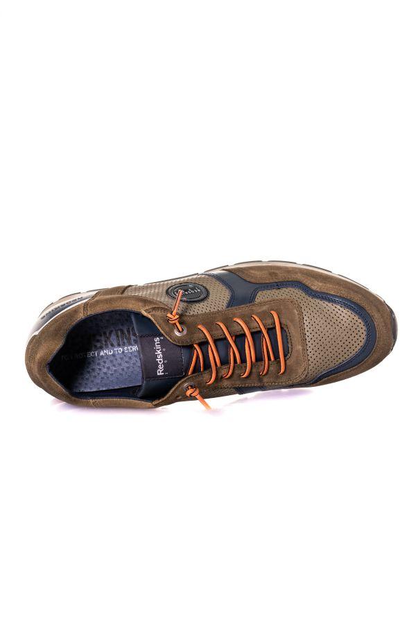 Baskets En Cuir Homme Chaussures Redskins STITCH KAKI+MARINE