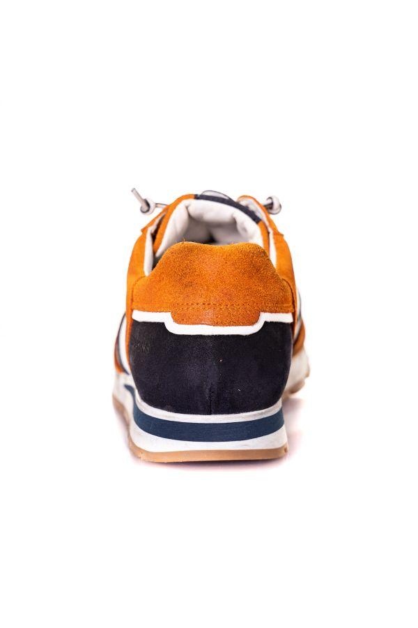 Baskets En Cuir Homme Chaussures Redskins STITCH ORANGE+MARINE+BLANC