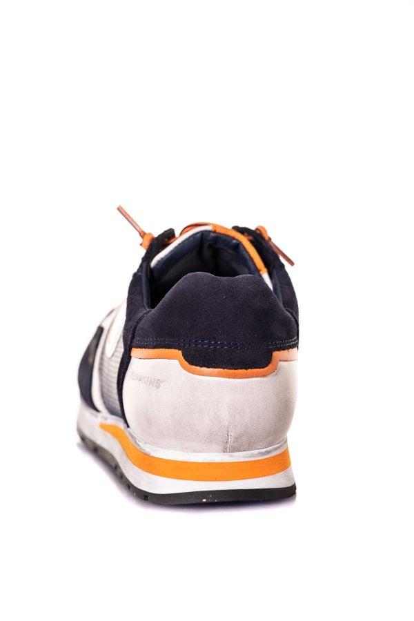 Baskets En Cuir Homme Chaussures Redskins STITCH MARINE+BLANC+ORANGE