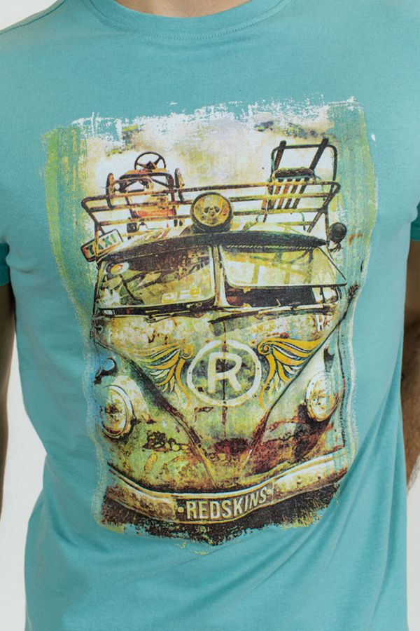 Tee Shirt Homme Redskins RUSTY EASY TURQUOISE