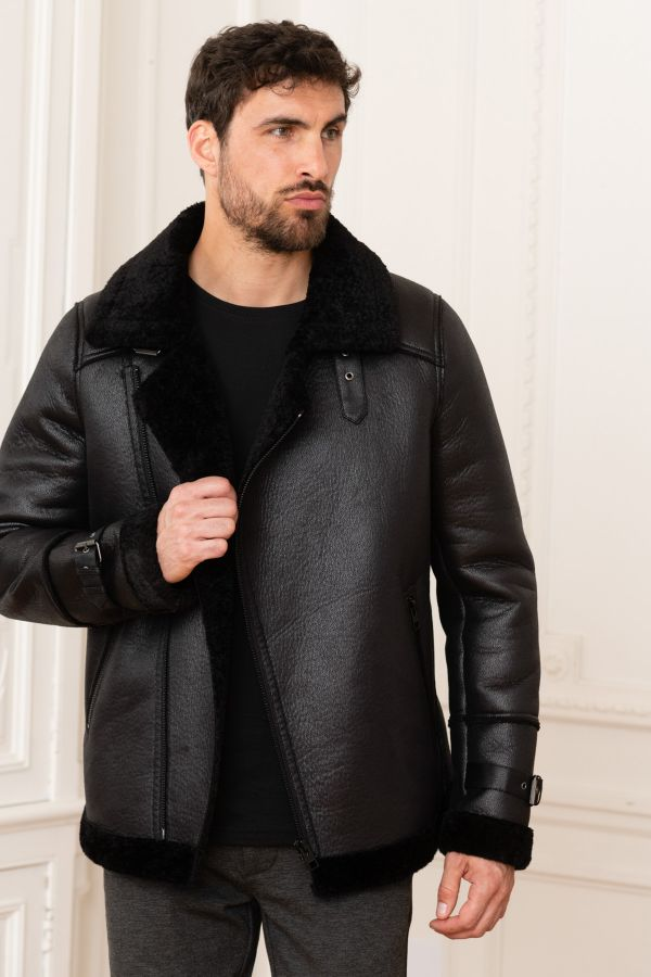 Blouson Homme Oakwood LEADER NOIR 501 CURLY FUR NAPPA TOUCH