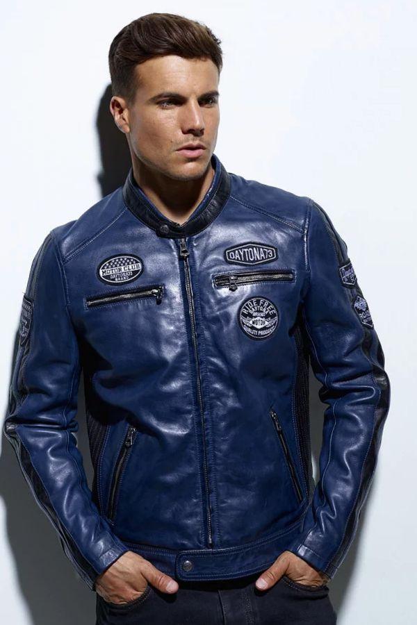 Blouson Homme Daytona GALIANO SHEEP ATLAS VEG SHORT BLUE