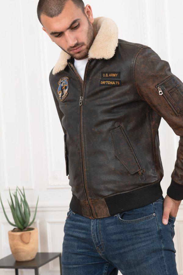Blouson Homme Daytona JEFFERSON COW ASPHALT BRANDY
