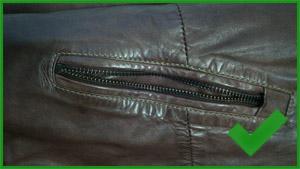 Défaut de zip sur veste en cuir